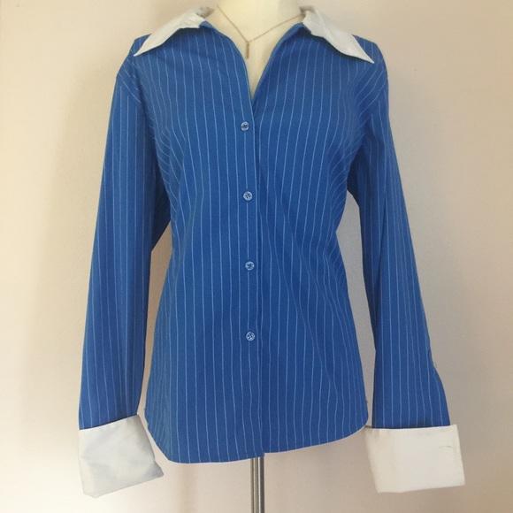 d31c5802 Dress Barn Tops   Dressbarn Blue White Striped Cuff Button Down L ...