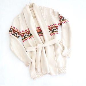 Quiksilver Beige Tribal Print Cardigan Sweater