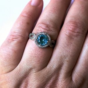 Jewelry - Sterling Silver Blue Halo Ring with Side Stones
