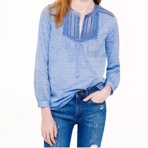 J. Crew blue embroidered blouse