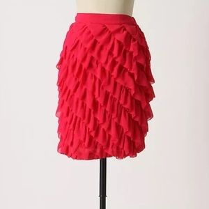 Hot pink knee length Ruffle skirt by Odille