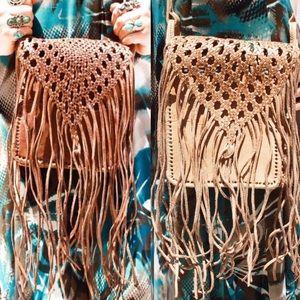Handbags - Braided Handmade Genuine Leather Fringe Bag HM0024