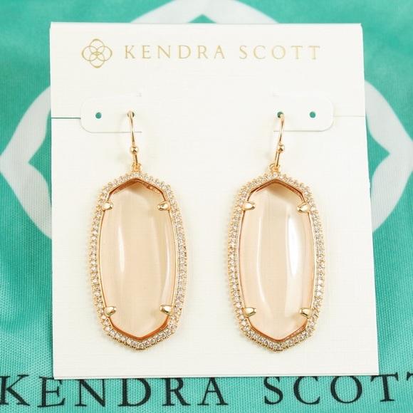 3c2a239fc Kendra Scott Jewelry - Kendra Scott Elle Lux Pave Earring Peach Rose Gold