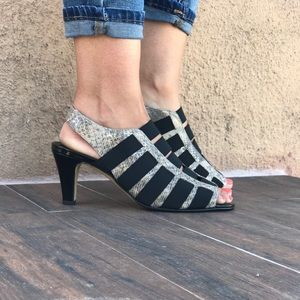 Anthropologie Shoes - Strappy Top Kitten Heel Fabric Sandals Wide Fit