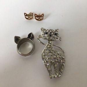 Jewelry - Bundle Of Cat Jewelry + NWT Cat Socks!