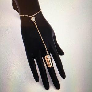 Jewelry - LARGE CUFF RING W/CZ W/ CHAIN & CZ STONE BRACELET