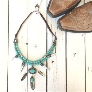 Horn & Feather Charm Tribal Necklace