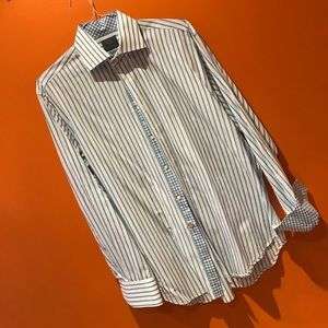 Other - $120 THOMAS DEAN Dress Shirt L. Blue Stripe
