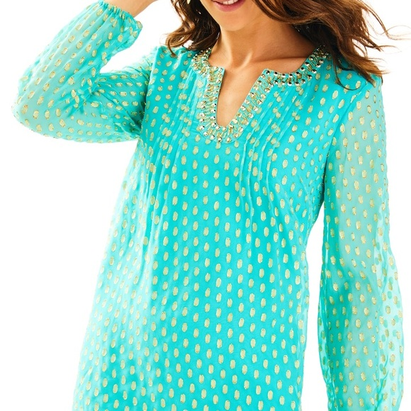 3af5e1e92774f1 Lilly Pulitzer Colby Silk Tunic Dress in Aqua
