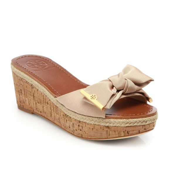 686431f7e49 Tory Burch Penny Grosgrain Cork Wedge Slides. M 5990eeb74e8d17cf58130695