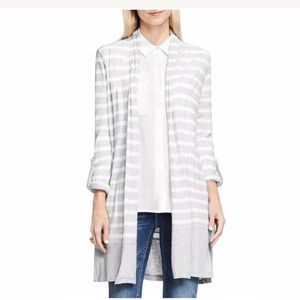 Two by Vince Camuto Striped Gray Cardigan XL