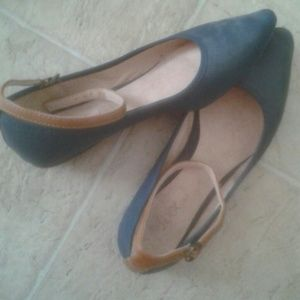 Shoes - Navy blue flats with ankle straps