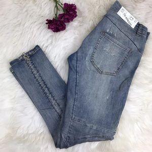 BLANK NYC Distressed Slim Ankle Zip Skinny Jeans