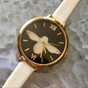 Minimalist Gold & Cream Bee Leather Luxury Watch