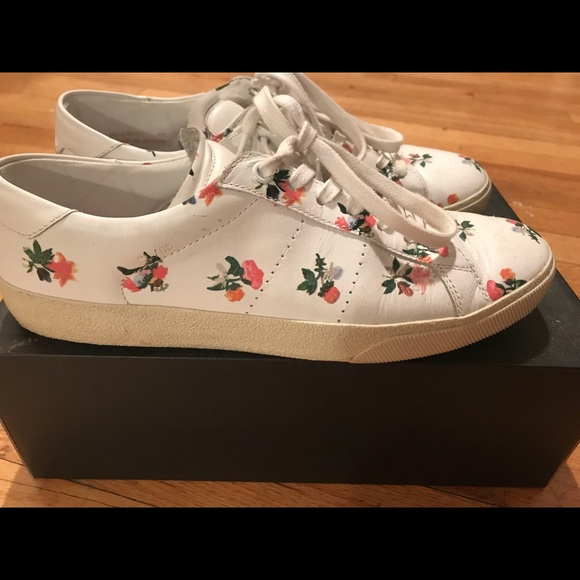 Ysl Womens Floral Trainer Sneaker Size