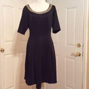 Black work dress gold chain size 14