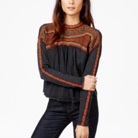 Free People High Neck Embroidered Top