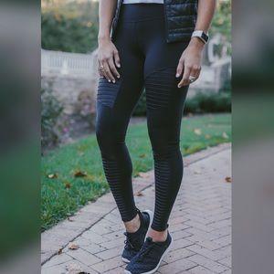 Moto Matte Black Yoga Pants Workout Leggings
