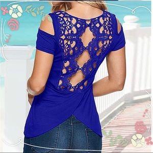 Tops - Off Shoulder Lace Design T-Shirt