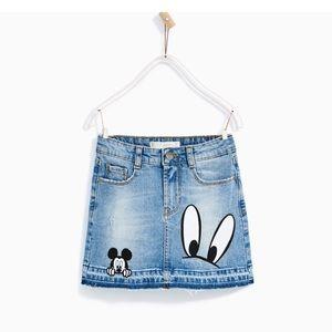 ISO: Zara Trafaluc Mickey Mouse Denim Skirt