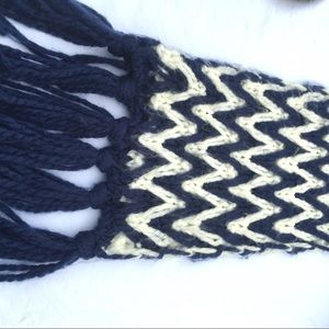Blue and white knit scarf