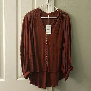Free People burgundy blouse