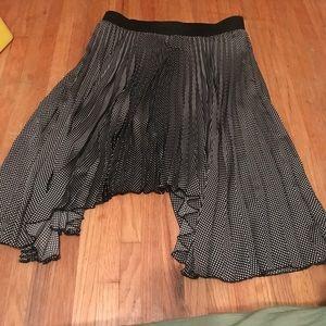 Black and white polka dot asymmetrical skirt