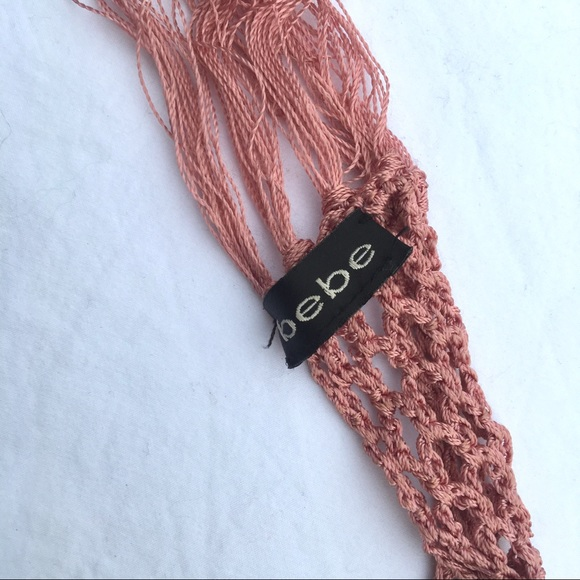 bebe Accessories - Bebe pink crochet thin scarf