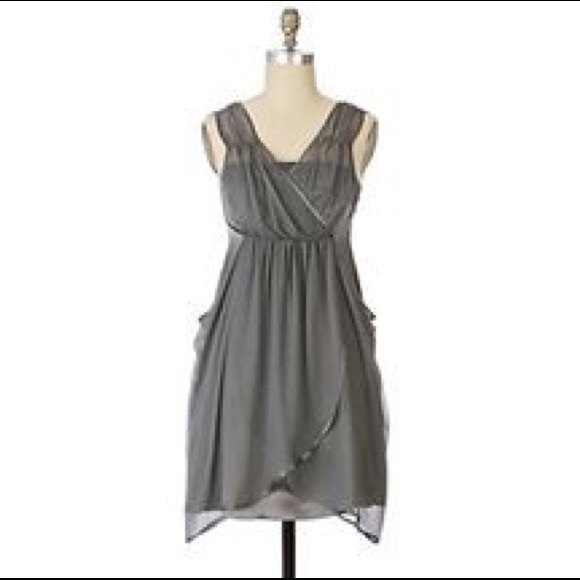 Anthropologie Dresses & Skirts | Dolan Grey Silk Cocktail Dress Sz ...