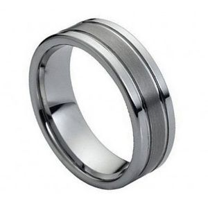 Other - Ring Polished Shiny Double Grooved Brushed Center