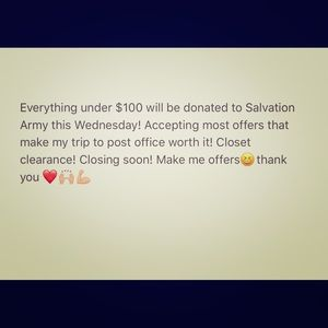 Tops - Donating all items under $100 to Salvation Army!