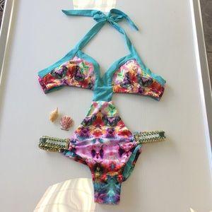 Beach bunny tie dye one piece bikini Small new