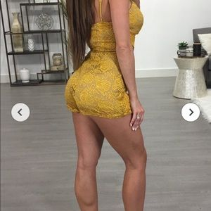 New yellow lace romper