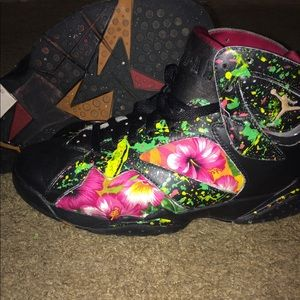 Black And Green Floral Jordan 7s Custom Made