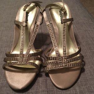 Shoes - Unlisted Heels Rhinestone Champagne Dress Sandal 6