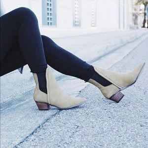 Geometric V Cut Distressed Booties