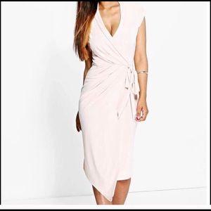 Wrap front Midi Dress