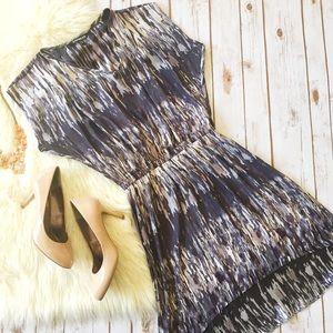Express grey purple design dress hi low