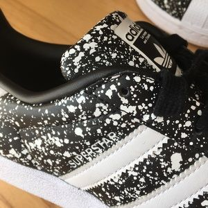 adidas Shoes - B&W splatter paint adidas superstar originals