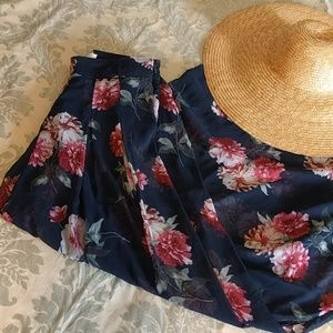 Navy Sheer Floral Gauchos