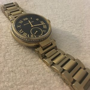 Michael Kors Gold Black Watch with crystal detail