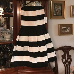 BNWT strapless black and white stripe dress
