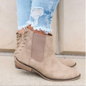 Tan Braided Back Ankle Booties