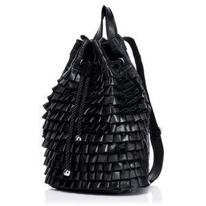 Genuine Italian Leather Ruffle Backpack