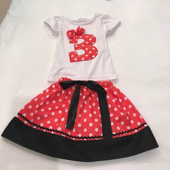 bf6f932c87513 Minnie Mouse Inspired 3rd Birthday 2 Piece Outfit