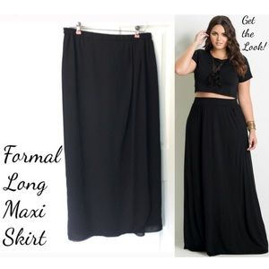 Vintage Formal Black Maxi Skirt Chiffon Lined Plus
