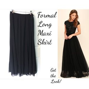 Vintage Formal Maxi Skirt Black Lined 1X
