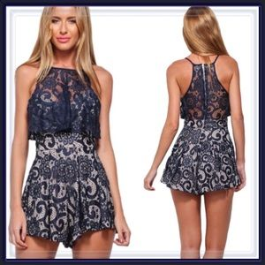Pants - 🆕 Navy Blue Lace Overlay Romper