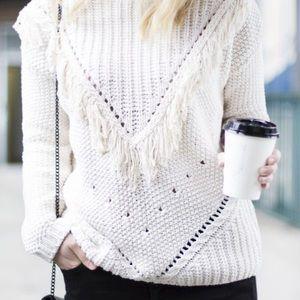 Sweaters - ✨Host Pick!✨ Slouchy White Boho Sweater W/ Fringe