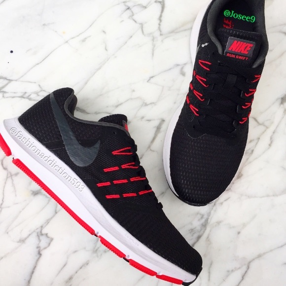 7952f1f6cef84e Nike run swift women s black white red sneakers
